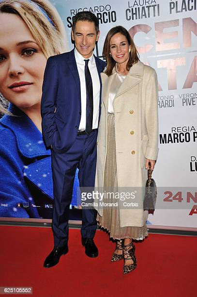 Cristina Parodi and Marco Liorni walk a red carpet for 'La Cena Di Natale' on November 22 2016 in Rome Italy