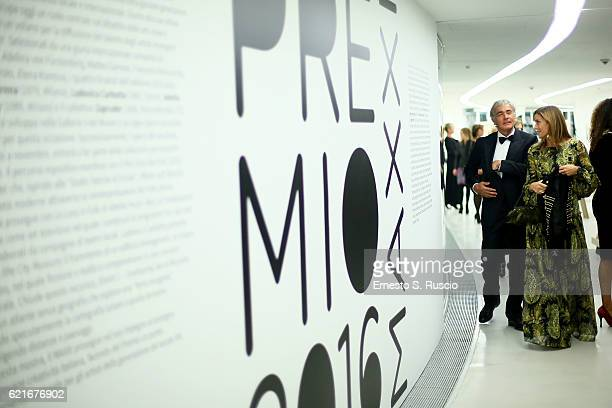 Cristina Parodi and Massimo Giletti attend a welcome cocktail and 'The Japanese House' exhibition preview for the MAXXI Acquisition Gala Dinner 2016...