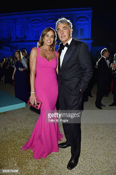 Cristina Parodi and Massimo Giletti attend Tiffany Co celebration of the opening of its new store in Rome at at Villa Aurelia on May 11 2016 in Rome...