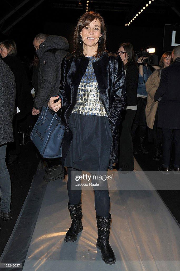 Cristina Parodi attends the Max Mara fashion show during Milan Fashion Week Womenswear Fall/Winter 2013/14 on February 21, 2013 in Milan, Italy.