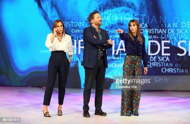 Cristina Parodi Christian De Sica and Benedetta Parodi attend Domenica In TV Show on October 15 2017 in Rome Italy