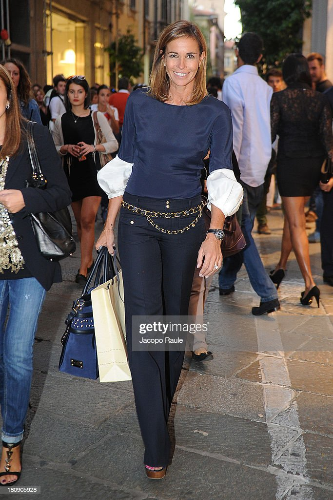 Cristina Parodi is see during The Milan Vogue Fashion Night Out on September 17, 2013 in Milan, Italy.