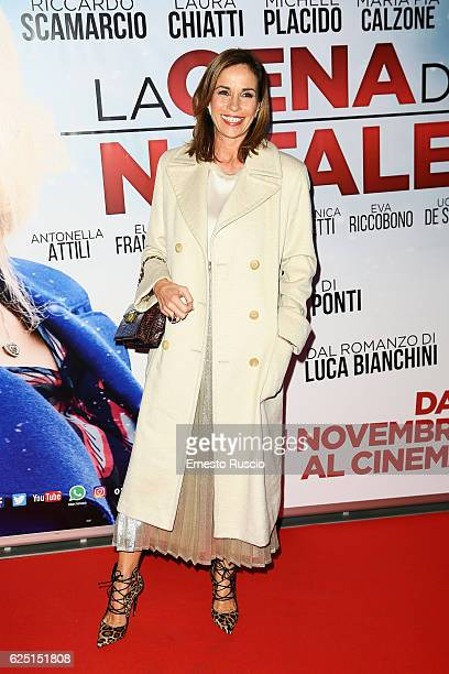 Cristina Parodi walks a red carpet for 'La Cena Di Natale' at Cinema Adriano on November 22 2016 in Rome Italy