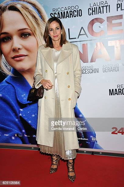 Cristina Parodi walks a red carpet for 'La Cena Di Natale' on November 22 2016 in Rome Italy