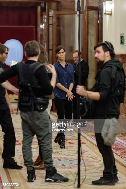 Cristina Pedroche is seen on set filming at the Spanish Congress of Deputies on March 30 2017 in Madrid Spain