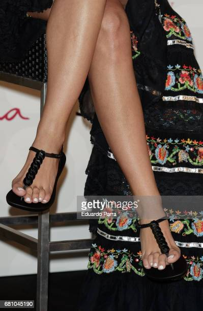 Cristina Pedroche sandal detail is presented as the new Ipanema Girl 2017 on May 9 2017 in Madrid Spain