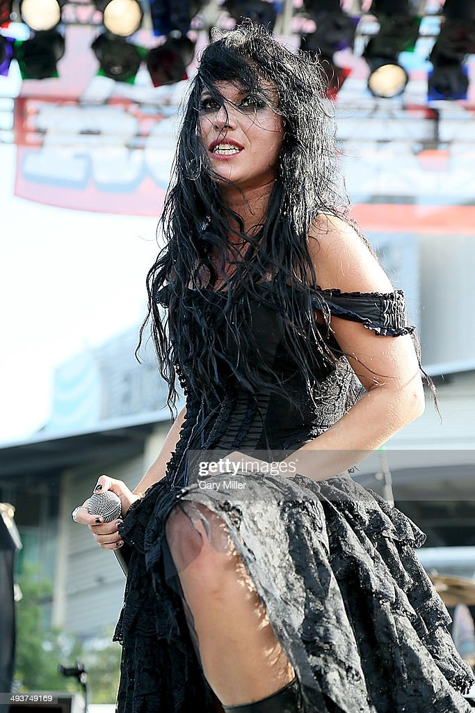 Cristina Scabbia performs in concert with Lacuna Coil during the River City RockFest at the at&t Center on May 24, 2014 in San Antonio, Texas.