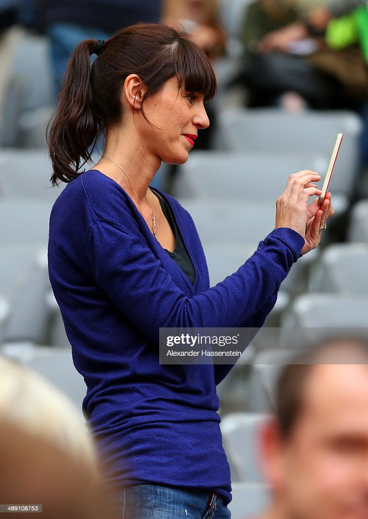 Cristina Serra, the wife of Bayern Muenchen head coach Pep Guardiola looks on prior to the Bundesliga match between Bayern Muenchen and VfB Stuttgart at Allianz Arena on May 10, 2014 in Munich, Germany.