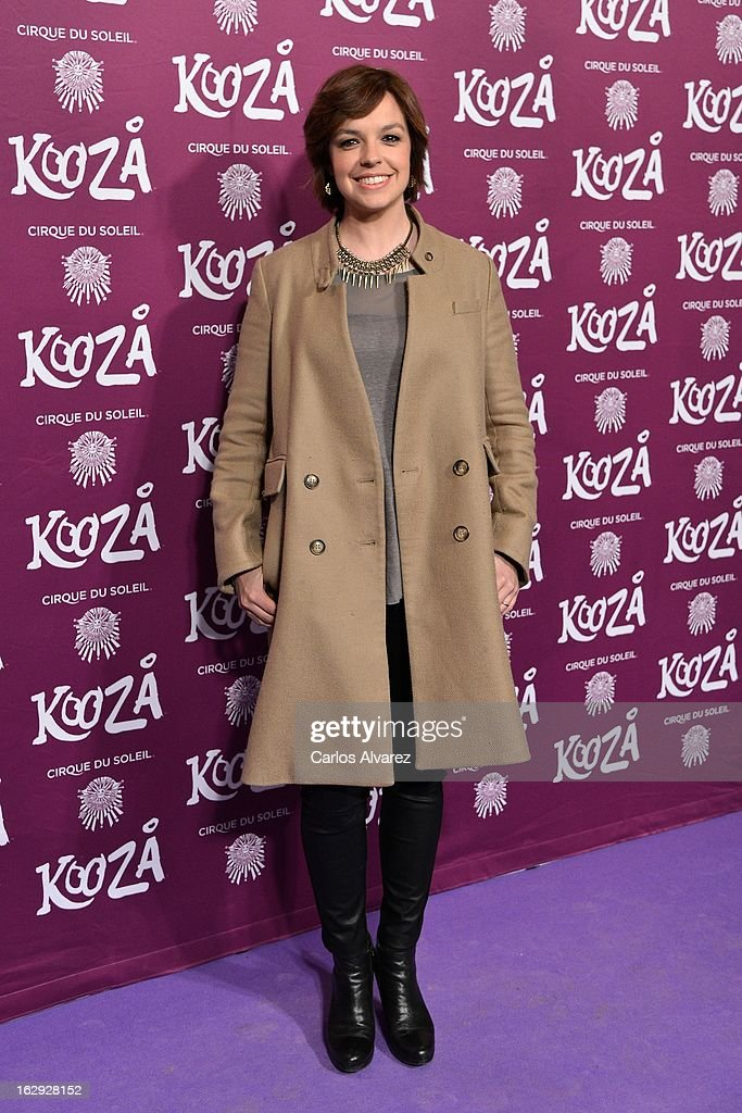 Cristina Villanueva attends 'Cirque Du Soleil' Kooza 2013 premiere on March 1, 2013 in Madrid, Spain.