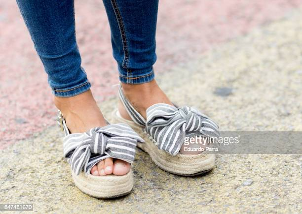 Cristina wears a Stradivarius shoes during the Mercedes Benz Fashion Week Spring/Summer 2018 at Ifema