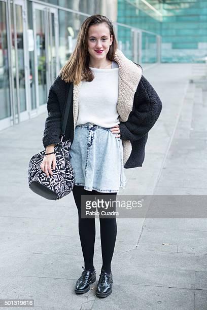 Cristina wears Mango shoes Bershka skirt Zara pullover and Springfield handbag during the 'Rave Market' at Barclaycard Center on December 13 2015 in...