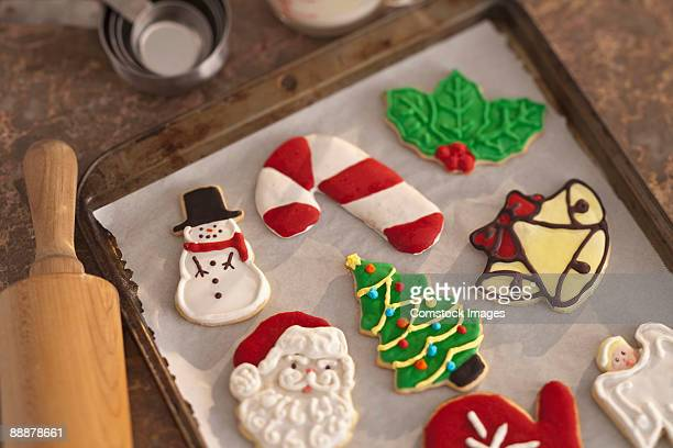 cristmas cookies on cookie sheet