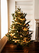 Cristmas tree with golden ornaments closeup