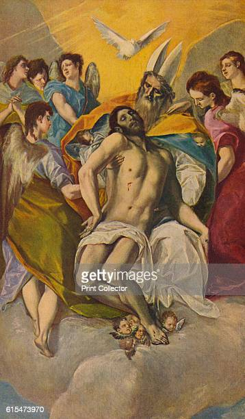 Cristo En Brazos Del Padre Eterno' El Greco painted his only version of the Trinity with the seminude corpse of Christ being supported and held in...