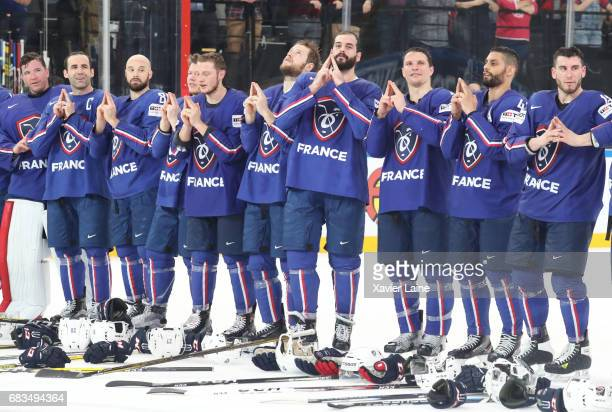 Cristobal Huet Laurent Meunier Teddy Da Costa Sacha Treille Antoine Roussel PierreEdouard Bellemare and Yohann Auvitu of France celebrate the end of...
