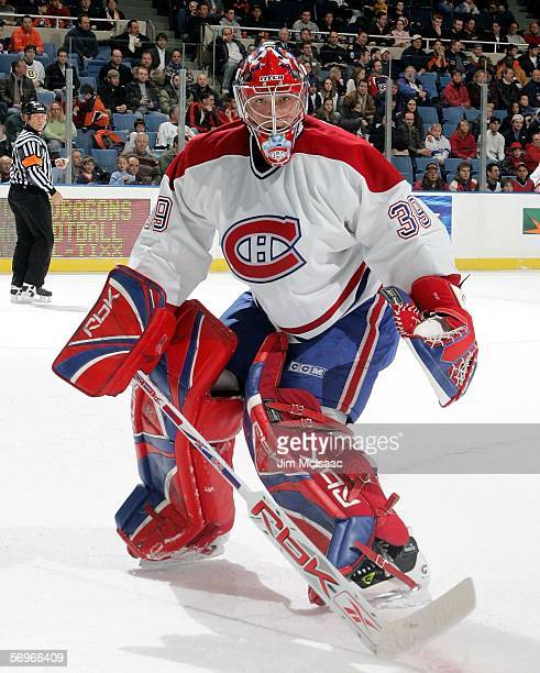 Cristobal Huet of the Montreal Canadiens looks on against the New York Islanders on February 28 2006 at Nassau Coliseum in Uniondale New York The...