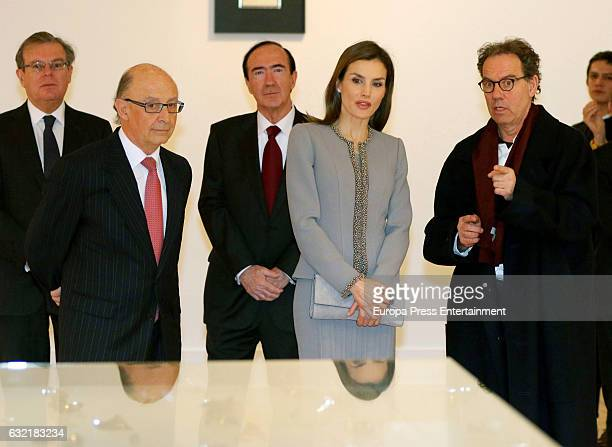 Cristobal Montoro Queen Letizia of Spain and Jose Maria Sicilia attend 2016 'Tomas Francisco Prieto' Award at Casa de la Moneda on January 20 2017 in...