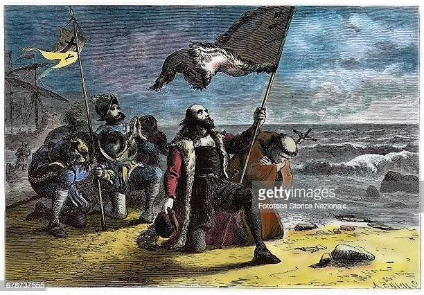 Cristoforo Colombo lands in the New World on the island of Hispaniola Here he is represented symbolically as if the Church and the Conquistadores are...