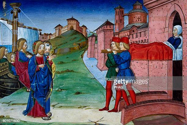 Cristoforo de Predis Italian miniaturist Miniature depicting Jesus returning to Nazareth where they present him a paralytic In Stories of Saint...