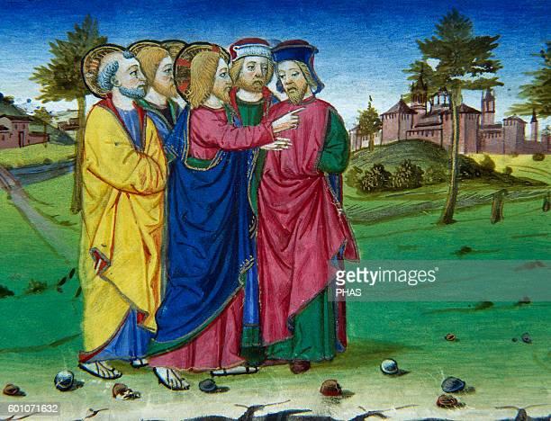 Cristoforo de Predis Italian miniaturist Miniature depicting Jesus condemns Jerusalem that has killed prophets In Stories of Saint Joachim Saint Anne...