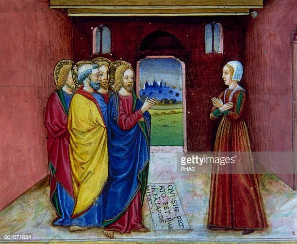 Cristoforo de Predis Italian miniaturist Miniature depicting Jesus admonishing the adulteress to sin no more In Stories of Saint Joachim Saint Anne...