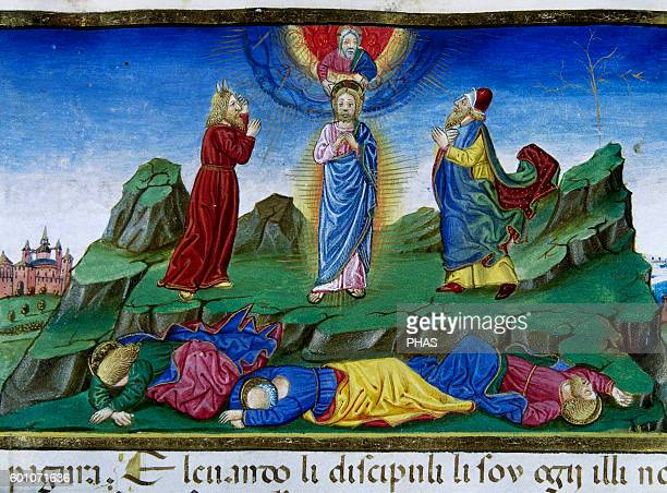 Cristoforo de Predis Italian miniaturist Miniature depicting Jesus being transfigured on the mountain with Moses and Elijah a light appears and the...