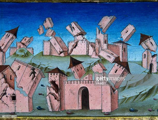 Cristoforo de Predis Italian miniaturist Miniature depicting The end of the world and the Last Judgment All houses and villages be destroyed 6th time...