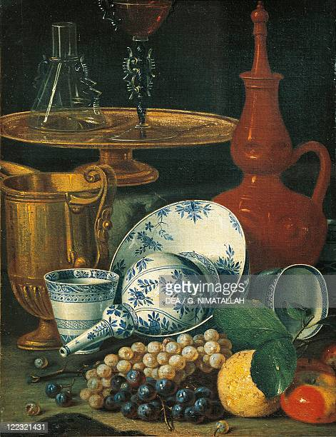 Cristoforo Munari Still Life with Crockery Glassware and Fruit