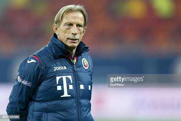 Cristoph Daum the head coach of Romania national football team during a training session before the World Cup qualifying campaign 2018 game between...