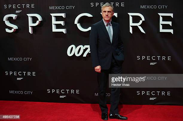 Cristoph Waltz poses for pictures during the red carpet of the 'Spectre' Premiere at Auditorio Nacional on November 02 2015 in Mexico City Mexico