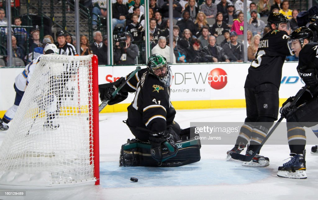 Cristopher Nilstorp #41 of the Dallas Stars has a puck get past him for a goal against the St. Louis Blues at the American Airlines Center on January 26, 2013 in Dallas, Texas.