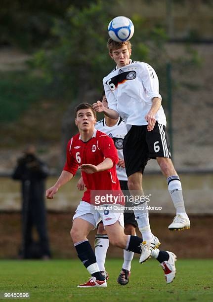 Cristotoph Kramer of Germany and Kristoffer Tokstad of Norway compete for the ball during the U19 international friendly match between Germany and...