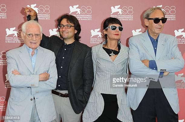 TV Critic Angelo Guglielmi Eugenio Lio director Elisabetta Sgarbi and composer Franco Battiato attend the 'QuiProQuo' Photocall during the 68th...