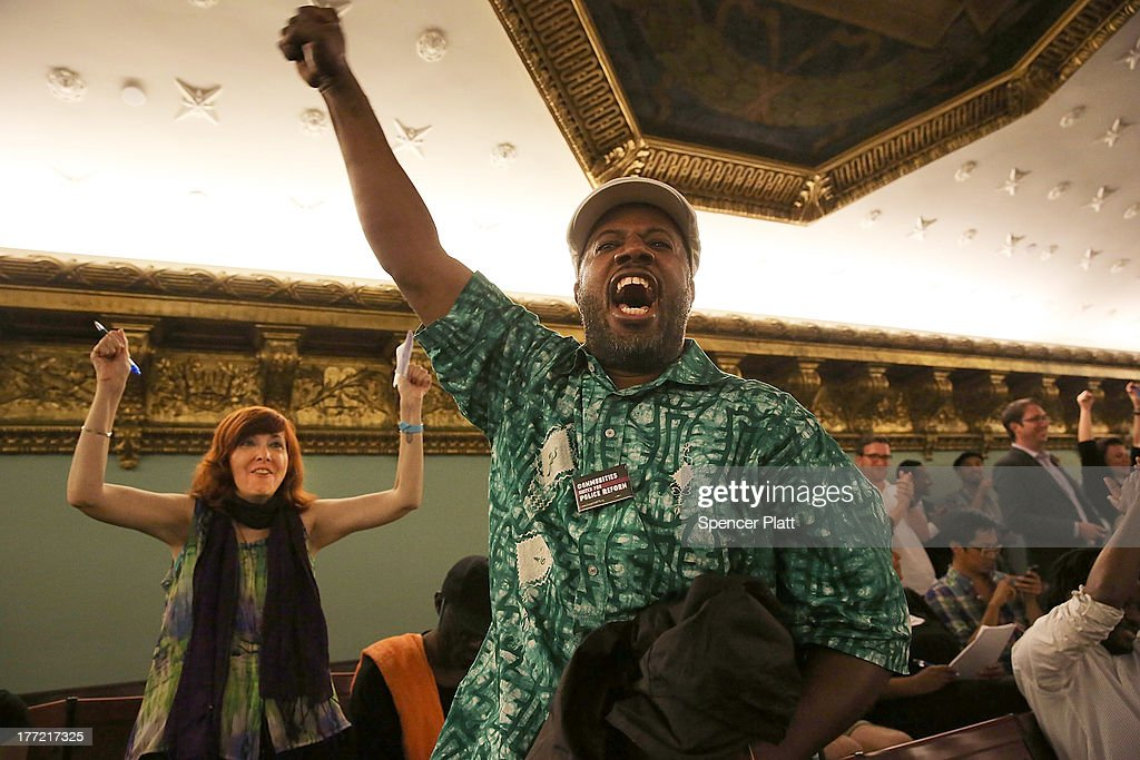 Critics of the New York City Police Department (NYPD) stop-and-frisk policy celebrate after City Council members voted to override Mayor Michael Bloomberg's vetoes to establish an inspector general for the New York Police Department (NYPD) weeks after a federal judge ruled that the NYPD violated the civil rights of minorities with their stop-and-frisk policy on August 22, 2013 in New York City. U.S. District Court Judge Shira Scheindlin ordered a monitor to focus on stop-and-frisk, a policy she declared that the department has used in a manner that violated the rights of hundreds of thousands of black and Hispanic men. The city is appealing the ruling.