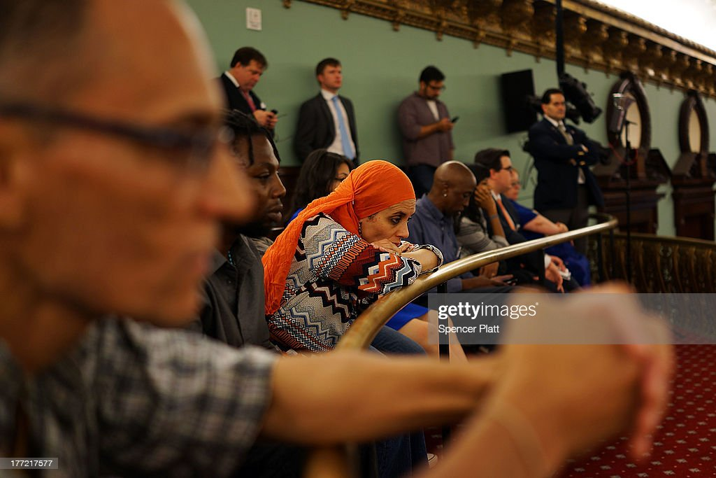 Critics of the New York City Police Department (NYPD) stop-and-frisk policy watch deliberations moments before City Council members voted to override Mayor Michael BloombergÕs vetoes to establish an inspector general for the New York Police Department (NYPD) weeks after a federal judge ruled that the NYPD violated the civil rights of minorities with their stop-and-frisk policy on August 22, 2013 in New York City. U.S. District Court Judge Shira Scheindlin ordered a monitor to focus on stop-and-frisk, a policy she declared that the department has used in a manner that violated the rights of hundreds of thousands of black and Hispanic men. The city is appealing the ruling.