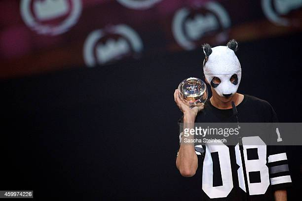 Cro celebrates winning the 1Live Krone award during the 1Live Krone 2014 at Jahrhunderthalle on December 4 2014 in Bochum Germany