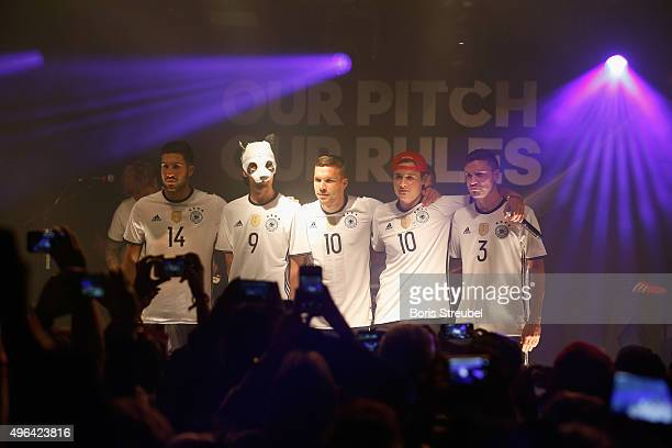 Cro Emre Can Lukas Podolski Dajuan and Jonas Hector attend the adidas presentation of new DFB home jersey for UEFA EURO 2016 at The Base on November...
