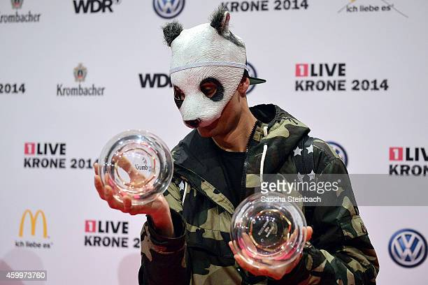 Cro poses with the award during the 1Live Krone 2014 at Jahrhunderthalle on December 4 2014 in Bochum Germany