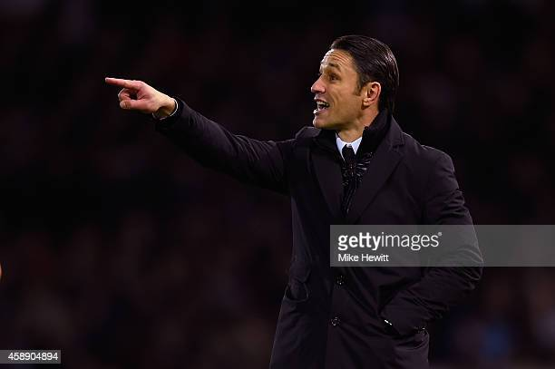 Croatia coach Niko Kovac shouts instructions during an International Friendly between Argentina and Croatia at Boleyn Ground on November 12 2014 in...