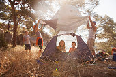 Croatia, Dalmatia, Family holidays on camp site, pitching the tent