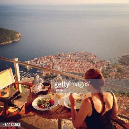 Croatia, Dubrovnik, Dinner at balcony