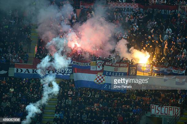 Croatia fans shoot firecrackers during the EURO 2016 Group H Qualifier match between Italy and Croatia at Stadio Giuseppe Meazza on November 16 2014...
