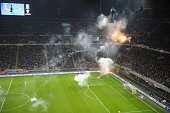 Croatia fans shoots firecrackers during the EURO 2016 Group H Qualifier match between Italy and Croatia at Stadio Giuseppe Meazza on November 16 2014...