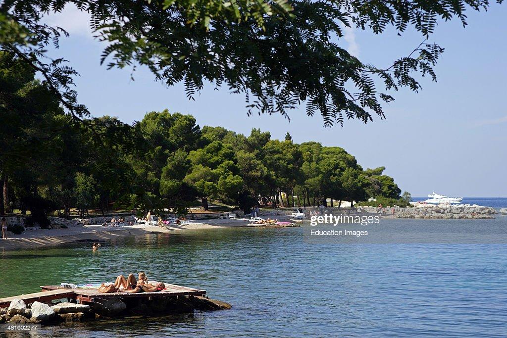 Croatia Istria Rovinj harbor view the town beach