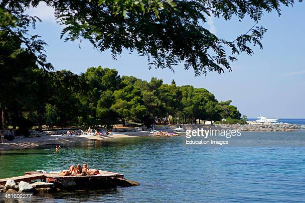 Croatia Istria Rovinj harbor view the town beach