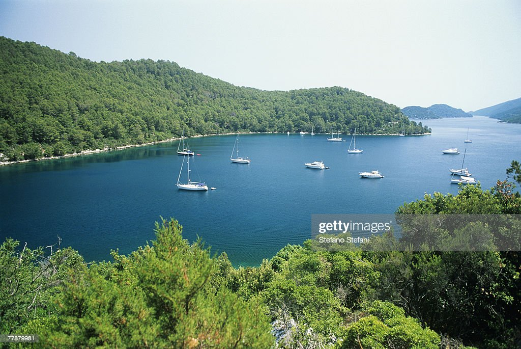 Croatia, Mljet Island National Park, Sailboats on water, elevated view : Stock Photo