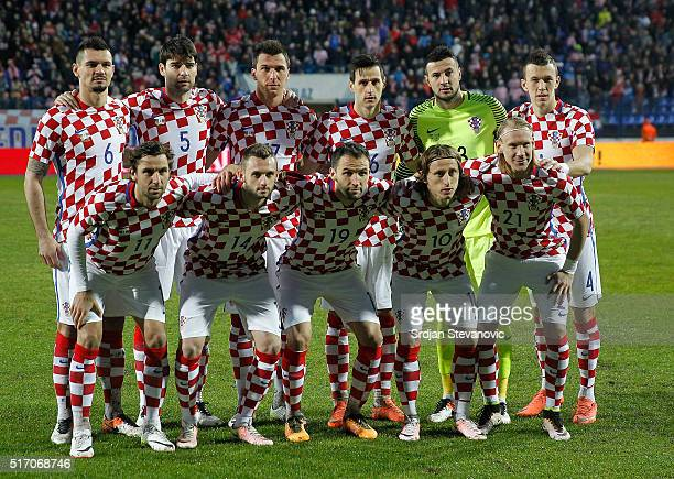 Croatia national football team pose for the photo before the International Friendly match between Croatia and Israel at Stadium Gradski Vrt on March...