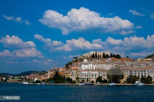 Croatia, Sibenik from the sea : Stock Photo