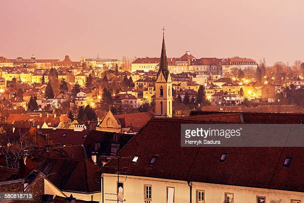 Croatia, Zagreb, Cityscape with Franciscan Monastery at dawn