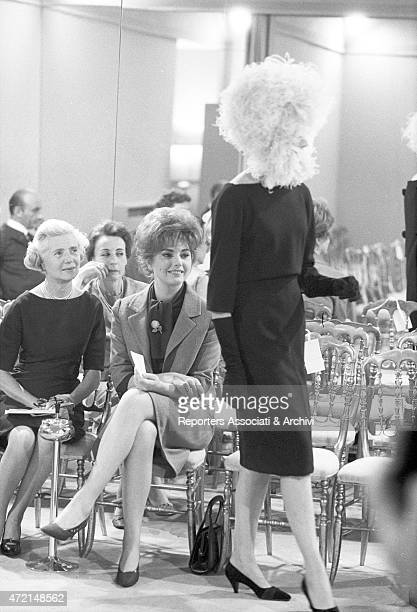 'Croatian actress Sylva Koscina attending the presentation of some dresses with some other ladies at Italian fashion designer Roberto Capucci's...
